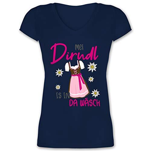 Oktoberfest & Wiesn Damen - MEI Dirndl is in da Wäsch Edelweiss Grau - XL - Dunkelblau - MEI Dirndl is in da wäsch - XO1525 - Damen T-Shirt mit V-Ausschnitt