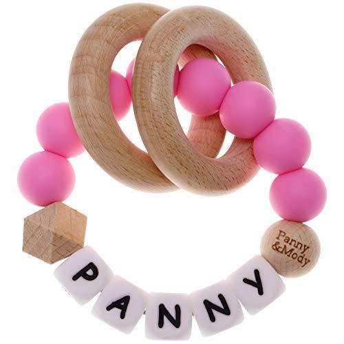 Sonajero de recuerdo de bebé con nombre personalizado, pulsera de silicona para masticar, juguete de mordedor de cuentas masticables para niños, niñas, anillo (rosa)
