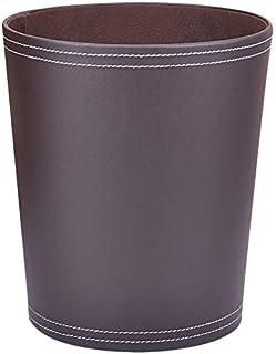 Corbeille à papier en cuir - 9 litres - Classique - Sans couvercle - Pour salon, cuisine, bureau, hôtel - Marron