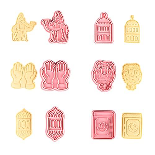 FSDELIV 6 Piezas de cortadores de Galletas Eid Mubarak Ramadán islámico musulmán moldes de Galletas Herramientas para Hornear para DIY Fondant Cake Eid Mubarak decoración de Fiesta