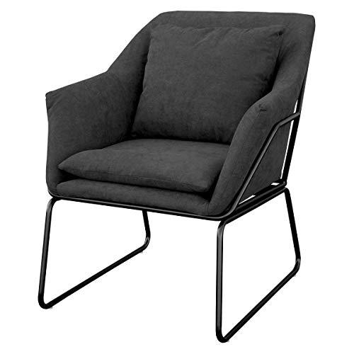 SVITA Josie Sessel gepolstert Beistellsessel Lounge Couch Einzelsofa Relaxsessel Seat Fernsehsessel Stoff inkl. Kissen Stuhl Samt (Dunkelgrau, Stoff)