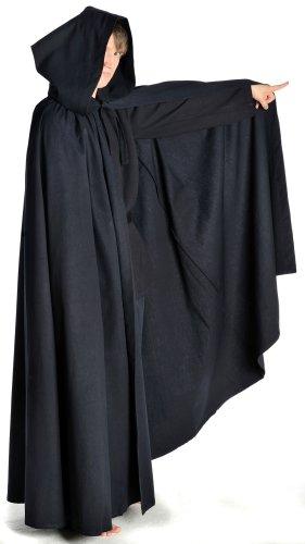 Mittelalter Umhang weit schwarz mit Kapuze Mittelalterliche Kleidung - 2