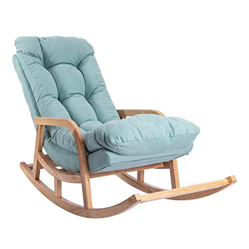 Y&MoD Wooden Rocker Rocking Lounge Chair Recliner Relaxation Lounging Relaxing Seat with Footrest & Cushion for Adult with Armrest