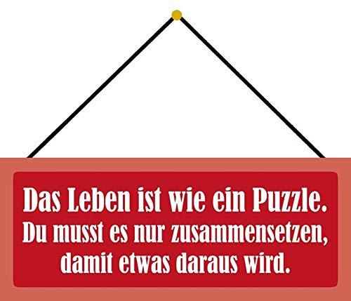 Schatzmix Blechschild Das Leben ist wie Ein Puzzle Metallschild Wanddeko 27x10cm m. Kordel Señal metálica, hojalata, Multicolor, 27x10 cm