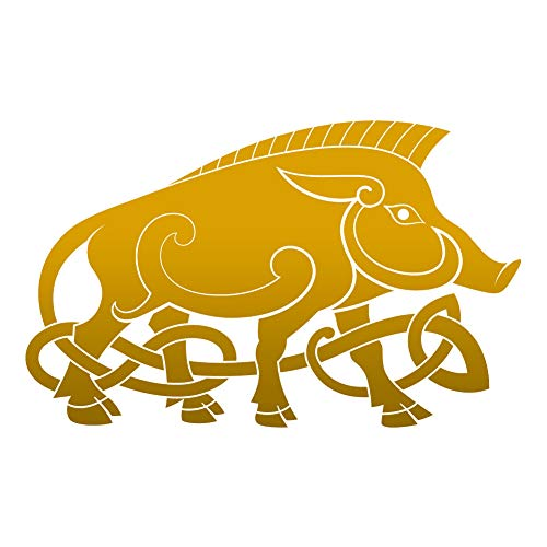 Dark Spark Decals Celtic Knot Wild Boar - Gold 6 inch Vinyl Decal for Indoor or Outdoor use, Cars, Laptops, Décor, Windows, and More