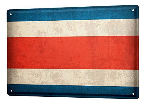 LEotiE SINCE 2004 Blechschild Dekoschild Küche Garage Welt Reise Costa Rica Flagge Wand Deko Schild 20X30 cm