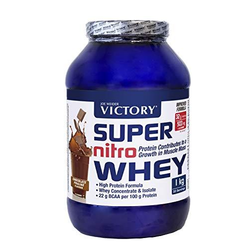 Victory Super Nitro Whey Chocolate-Praliné (1 kg). Concentrado y aislado de suero. fuente proteica rica en BCAAs. Recuperación muscular. Con L-Glutamina, Vitamina B6 y Calcio.