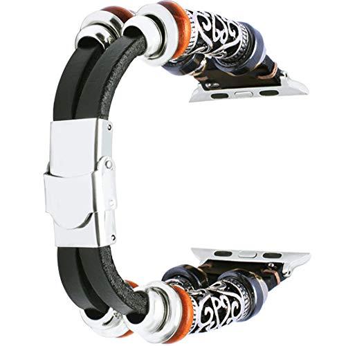 HuaForCity Cinturino per Orologi Apple 42MM, Cinturino in Pelle Orologio Stile Vintage, Cinturino per Orologio di Ricambio Orologio Apple Serie 3 Serie 2 Serie 1, Nero
