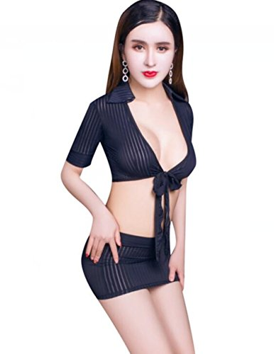 Bhwin Women Sexy Lingerie Set Secretary Uniform Cosplay Blouse Skirt Set (Black)