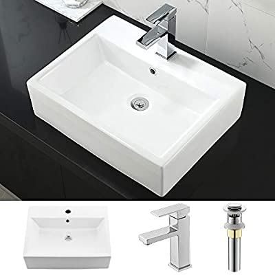 """Bathroom Sink and Faucet Combo Above Counter -WMXQX 21""""x16"""" Rectangle White Vessel Sink with Overflow Porcelain Ceramic Bathroom Vanity Sink Basin Washing Bowl Set, Faucet and Pop Up Drain Combo"""