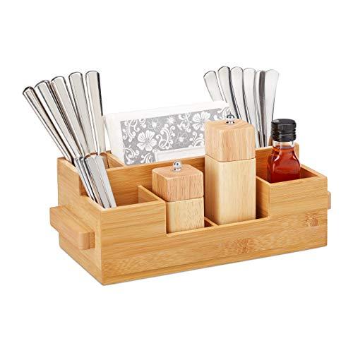 Relaxdays Besteckhalter Bambus, 7 Fächer, Tisch Menage für Servietten, Besteck, Öl, Gewürze, HBT 11,5 x 35 x 15cm, natur