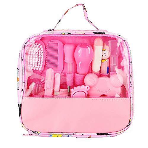 01 Safety The First Baby Kit de Cuidado de uñas, 13 Piezas Bolsa de Herramientas de Limpieza Diaria Personal para uñas de bebé (Azul/Rosa)(Rosa)