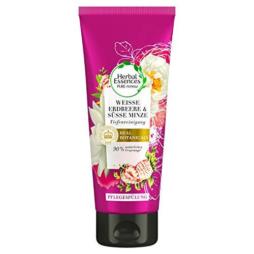 Herbal Essences PURE: renew Weiße Erdbeere & Süße Minze, 200 ml, Tiefenreinigung Pflegespülung, Conditioner, Haarpflege, Minze Conidtioner, Erdbeer Conditioner, Conditioner Fettiges Haar