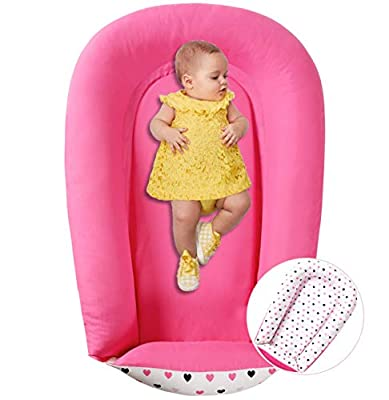 Baby Nest Co Sleepers for Newborns - Durable Cotton Blend Baby Lounger - Soft Portable Crib Perfect for Co-Sleeping and Travelling, Pink Hearts