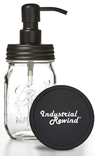 Industrial Rewind Ball Jar Soap Dispenser with Metal Black Pump and Black Lid - Clear Pint Mason Jar Soap Dispenser