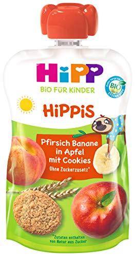HiPP HiPPiS Früchte und Getreide Quetschbeutel, Pfirsich-Banane in Apfel mit Cookies, 100% Bio-Früchte und Getreide, Ohne Zuckerzusatz, 6 x 100 g Beutel