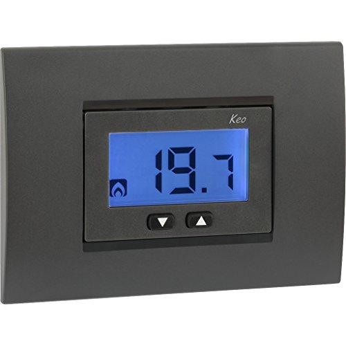 Vemer VE558300 Termostato, a incasso (scatola 3 moduli), Alimentazione 230V AC - 50/60Hz, Bianco/Grigio