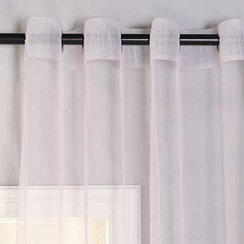 PimpamTex - Visillo Traslúcido para Habitación, Dormitorio o Salón, Cortina Transparente con Ollaos metálicos, 1 Unidad, Visillo Decorativo y de Colores Lisos – (140 x 280 cm, Velo Rosa)