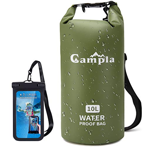 Campla Waterproof Dry Bag Backpack for Kayaking 20L,Zip pocket Roll Top Lightweight Floating Waterproof Bag Dry Sack w/Strap and Watertight Phone Case for Boating,Swimming,Beach and Water Sports Green