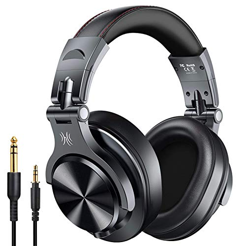 OneOdio A70 Bluetooth Over Ear Headphones, Studio Headphones with Shareport, Foldable, Wired and Wireless Professional Monitor Recording Headphones with Stereo Sound for Electric Drum Piano Guitar Amp
