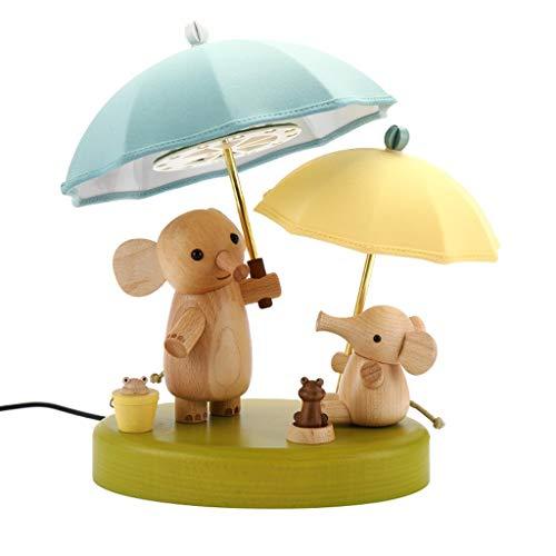 Hong Yi Fei-Shop Lámpara Escritorio Lámpara de Mesa LED de Madera Lámpara de mesilla Luz de Noche pequeña Creativa Decoración de Elefante pequeño cumpleaños for niños Lámparas Mesa