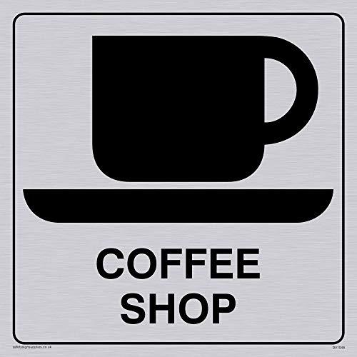 Viking Schilder dv1048-s15-sv'Coffee Shop' Sign, Positive Schwarz Text mit Bordüre, Vinyl silber Aufkleber, 150Mm H x 150mm W