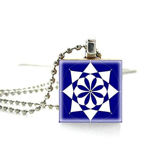 Vintage Azulejos Mandala Patrones Collar De Azulejos De Madera Colgantes Hechos A Mano Joyería Collar De Cadena De Bolas