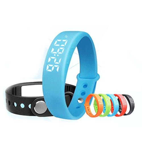 PIXNOR W5 Intelligente LED-Armband (Pedometer, Thermometer, Schlaf-Monitor, Vibrationsalarm) - blau