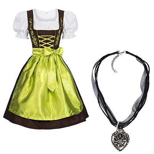 Gaudi-Leathers Dirndl Set 3 TLG.braun mit Stickerei Halskette Grün 34