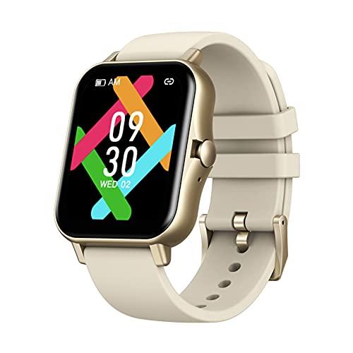 ASIAKK Reloj inteligente, Bluetooth 5.0 Respuesta/Llamada, reproducción de música independiente, monitor de ritmo cardíaco reloj inteligente para Android iOS, oro