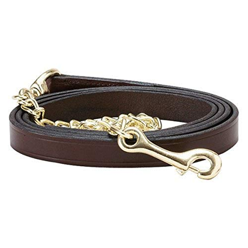 Perri's Leather Lead with 30-Inch Chain, Havana with Brass, 6-Feet 30-Inch