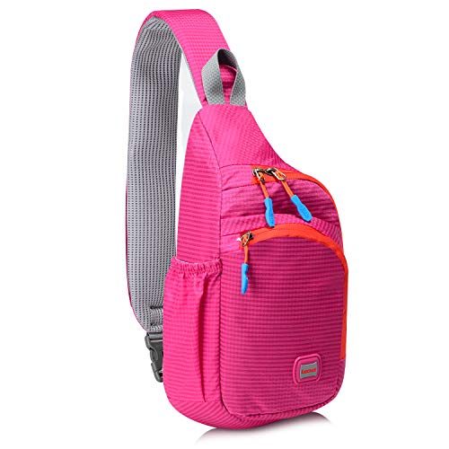 Lecxci Small Sling Backpack Waterproof Unisex Shoulder Bag Chest Crossbody Daypack(Rose Red)