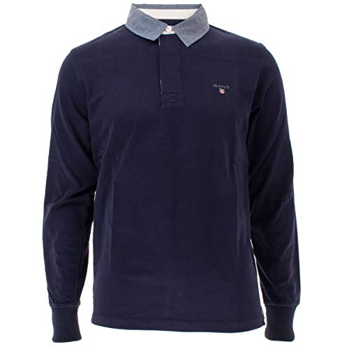 GANT Herren The Original Heavy Rugger Poloshirt, Blau (Evening Blue 433), Medium (Herstellergröße: M)
