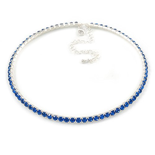 Avalaya Thin Sapphire Blue Top Grade Austrian Crystal Choker Necklace in Rhodium Plated Metal - 36cm L/ 9cm Ext