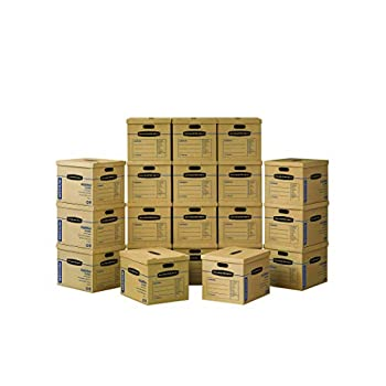 Bankers Box SmoothMove Classic Moving Boxes Tape-Free Assembly Easy Carry Handles Medium 18 x 15 x 14 Inches 20 Pack  8817202