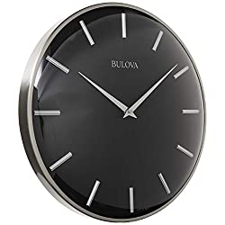 Bulova C4849 Metro Wall Clock, Satin Pewter Finish/Matte Black