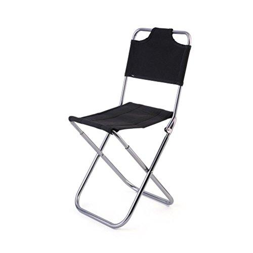 WINOMO Alliage d'aluminium portable Outdoor chaise pliante Camp avec dossier léger Slacker Fish Camp de chaises tabouret pour Accueil/Camping/voyage (noir)
