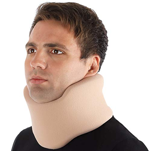 Halskrause Nackenstütze Erholung Halskrawatte Zervikalstütze - Einstellbarer - Weich, 100% Baumwollgewebe - Entlastet Wirbelsäule, Muskel, Gelenkdruck Large Beige