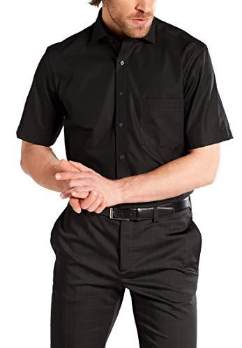 eterna Kurzarm Hemd Modern Fit Popeline Unifarben, Gr. 41, 99 schwarz