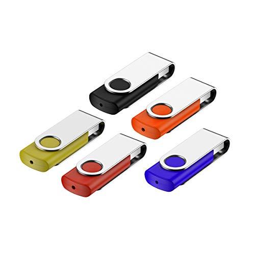 Fesaymi - Memoria USB de 16 GB, 5 unidades, metal, multicolor, alta velocidad, USB 2.0 Flash Drive Pack llavero (rojo, negro, verde, naranja, azul)