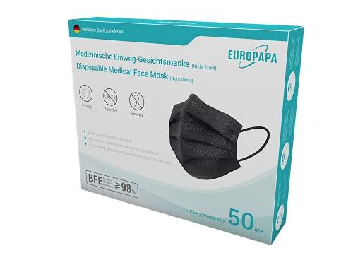 EUROPAPA® 50x Schwarz Medizinisch Type IIR Norm EN 14683 TÜV CE zertifizierte Mundschutzmasken OP Masken 3-lagig Mundschutz Gesichtsmaske Einwegmaske BFE ≥ 98%