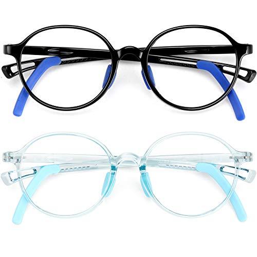 STORYCOAST Kids Blue Light Blocking Glasses Girls Boys 2 Pack Anti Eyestrain & UV Glare TR90 Computer Gaming TV Eyeglasses for Children Age 5-12 (Black + Light Blue)