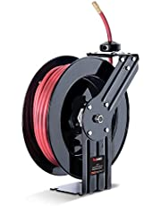 """ReelWorks - L815153A Air Hose Reel 3/8"""" Inch x 50' Foot Max 300PSI Steel Construction Industrial SBR Rubber Hose"""