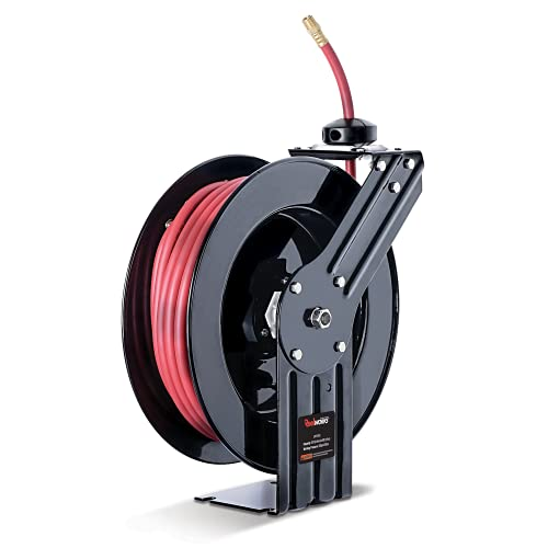 ReelWorks - L815153A Air Hose Reel 3/8' Inch x 50' Foot Max 300PSI Steel Construction Industrial SBR Rubber Hose