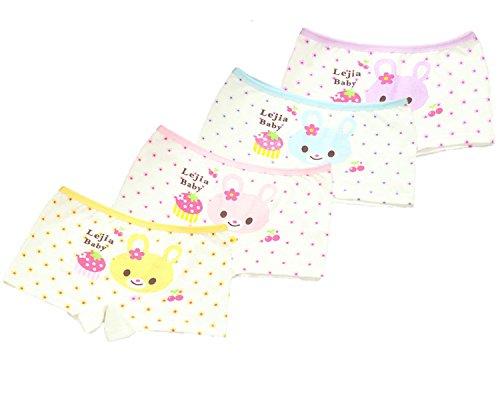 FAIRYRAIN 4 Packung Baby Kleinkind Mädchen Blumenbär Pantys Hipster Shorts Spitze Baumwollunterhosen Unterwäsche 2-4 Jahre