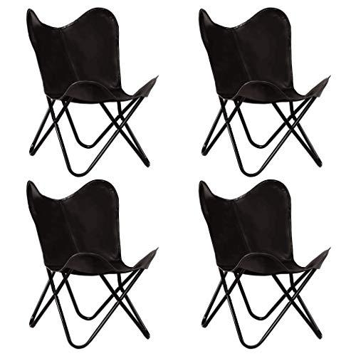 vidaXL 4x Vlinderstoel Kindermaat Echt Leer Zwart Kinderstoel Stoel Zitstoel