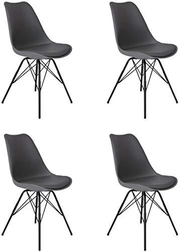 SAM 4er Set Schalenstuhl Lerche, grau, integriertes Kunstleder-Sitzkissen, Schwarze Metallfüße, Esszimmerstuhl im skandinavischen Stil