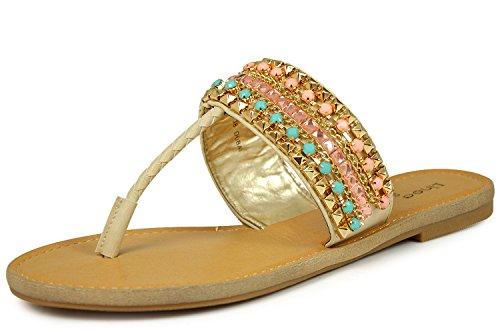 Linea Scarpa Dubai Damen Zehentrenner, Sandalen, beige (40, Beige)