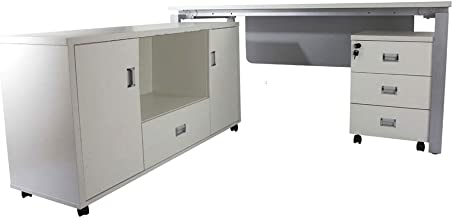 Mahmayi Carre L Extension Office Workstation with Side Cabinet, 75 x 160 x 183 cm, Me5116Lwh_Ex, White