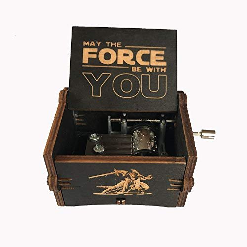 MINGZE Caja de música de Madera manivela, Pure Hand-Classical Music Box Hand-Wooden Music Box Creative Wooden Crafts Best Gifts, Variedad de Estilos (Star Wars(Black))